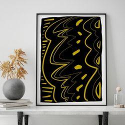 미드 센추리 모던 액자 Scratch Yellow Wave Black 캔버스 10호