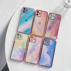아이폰12 11 XR SE2 8 수채화 강화유리 하드 케이스