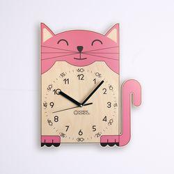 고양이 어린이 감성 무소음 교육용 벽시계 냥니