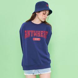 3D logo printing overfit sweat shirt (Deep blue)(ITEMPHZVECN)