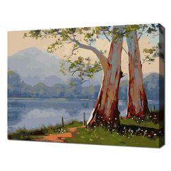 [명화그리기]4050 호수의 나무 두 그루 29색 풍경화