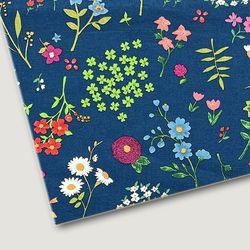 플로렛가든 꽃패턴 린넨원단 두-네이비 20color(0.5마)