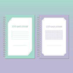 물가 100일 노트 (2종-Mint Violet) 100 DAYS STORY