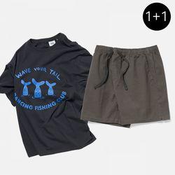 [SET] 댄싱 피싱 클럽 반팔 티셔츠 + 피셔맨 코튼 밴딩 숏팬츠