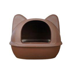 디자인을 더 생각한 아이캣 고양이모양 화장실 - 브라운 L