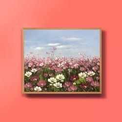 캔버스액자 코스모스 꽃그림 풍수지리 그림액자 12호