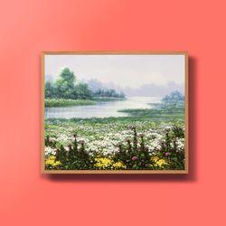 캔버스액자 풍요의강 꽃그림 풍수지리 그림액자 12호