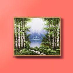 캔버스액자 자작나무계곡 부자되는그림 그림선물 12호