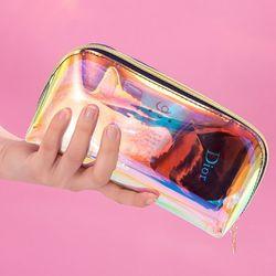 투명투명 홀로그램 화장품 PVC 투명 파우치
