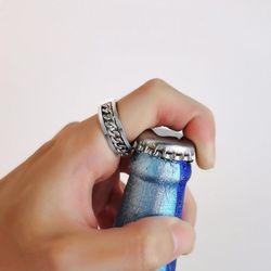 2+1 티타늄 스틸 체인 반지 병따개 반지