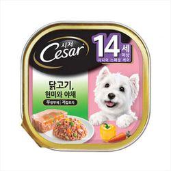 강아지간식 캔 시저 14세이상 닭고기 현미와야채 100g 5개