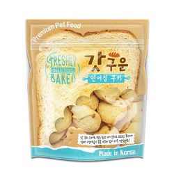 국산 강아지간식 갓구운 연어칩 쿠키 350g 2개 강아지밥