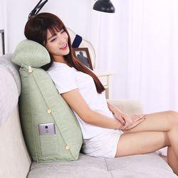 삼각등받이쿠션 대형/집순이 침대 의자 허리 쇼파