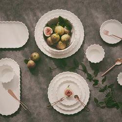 로얄애덜리 스노우 화이트 그릇 원형 도자기 접시 신혼그릇