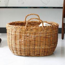 라탄 다용도 바구니 (세탁바구니캠핑바구니소품바구니) - 타원형