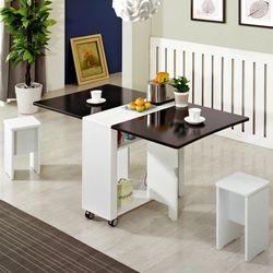 뉴라운딩 접이식테이블+의자2개 2-4인용 이동식식탁