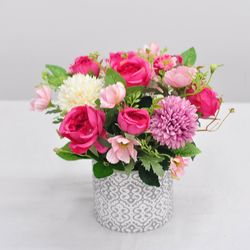 잉글리쉬핑크로즈 화분-조화 꽃바구니 생일  개업 인테리어장식