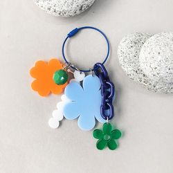 BLUE FLOWER UNIQUE  BAG CHARM