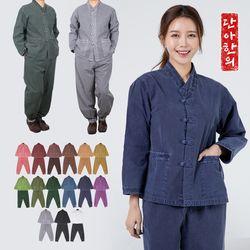 단아한의 남녀공용 생활한복 보송이브이넥긴팔세트