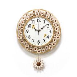 (kpl067)저소음 네이처 해바라기 시계 (화이트)