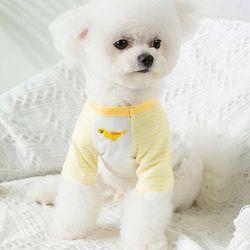 편안하고 기분좋은 애견 스트라이프 티셔츠 옐로우