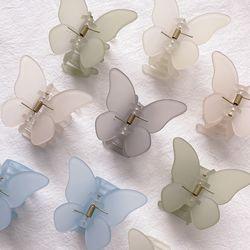 무드 매트 나비 헤어 반묶음 무광 집게핀