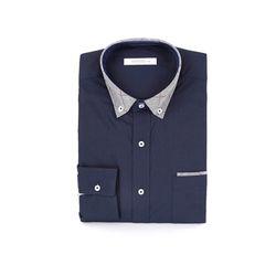 남자 포인트 체크카라 어버이날 선물 깔끔한 셔츠