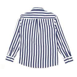 남자 볼드 블루 시원한 감각 스트라이프 와이드 셔츠