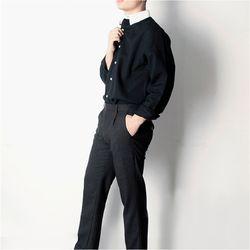 남자 언발 카라 배색 나들이 홍대패션 데일리 아이돌