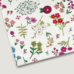 플로렛가든 꽃패턴 린넨원단 두-화이트 20color(0.5마)