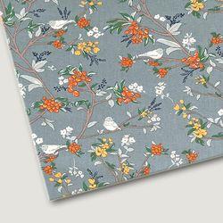 플로렛가든 꽃패턴 린넨원단 에밀리-블루 20color(0.5마)