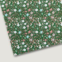 플로렛가든 꽃패턴 린넨원단 하이드-그린 20color(0.5마)