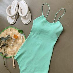 여자 여름 물놀이 파스텔 2컬러 모노키니 수영복 세트