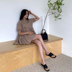 여자 여름 베이직 차도녀 시크한 캉캉 셔츠 미니원피