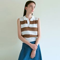 STRIPED SLEEVELESS KNIT [BROWN]