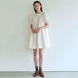 PINTUCK BUTTON DRESS [CREAM]
