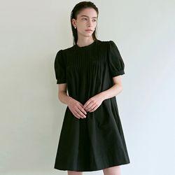 PINTUCK BUTTON DRESS [BLACK]
