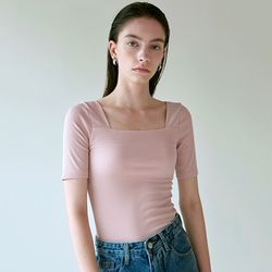 SQUARE NECK SILM KNIT [PINK]