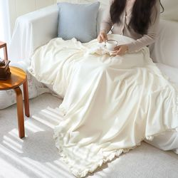 몽글 클라우드 극세사 프릴 대형 담요 캠핑 블랭킷 100x150cm (3color)