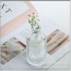 유리화병 글라스 튜명 꽃화병 줄무늬 공병 크리스탈