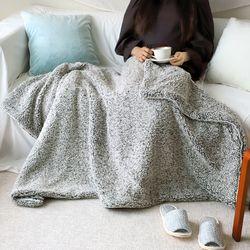 러블 그레이 양털 두겹 대형 겨울 담요 캠핑 블랭킷 100x150cm