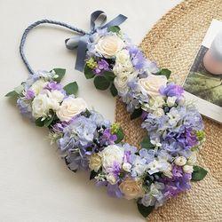 프리미엄 임관식 조화꽃목걸이 - 라일락블루