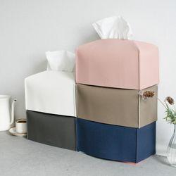 국산 모노가죽 직사각 티슈케이스 커버-5color