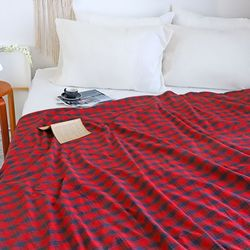 소피아 레드 체크 극세사 양면 특대형 담요 캠핑 블랭킷 150x200cm