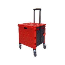 접이식 360도 회전 저소음 큰바퀴 폴딩 쇼핑카트 Red