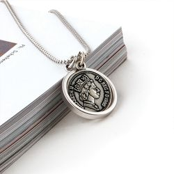 SVN-157 AntiqueSilver Coin Round Necklace(ITEMYWV1EOO)