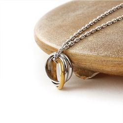SVN-155 Gold and silver mixing 3-turn ring necklace(ITEM15KX7TO)
