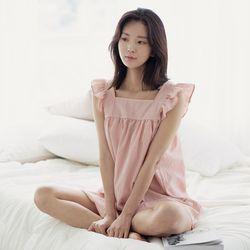 힐링잠옷 러블리 프릴소매 잔체크 원피스3color