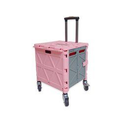 접이식 360도 회전 저소음 큰바퀴 폴딩 쇼핑카트 Pink