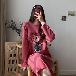 봄 여름 귀여운 홈족 편한 프린팅 트임롱 원피스